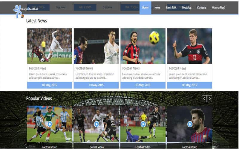 Bootstrap Football Homepage free website templates download