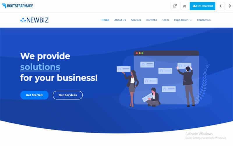 NewBiz website for free templates