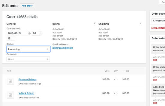 Dropshipping Orders in WooCommerce