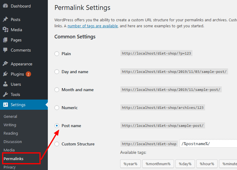 how to Use wordpress Permalinks