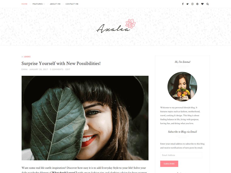 preview screenshot of Azalea WordPress blog theme