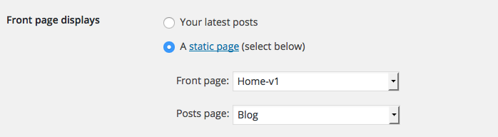 Wordpress blog Reading Settings