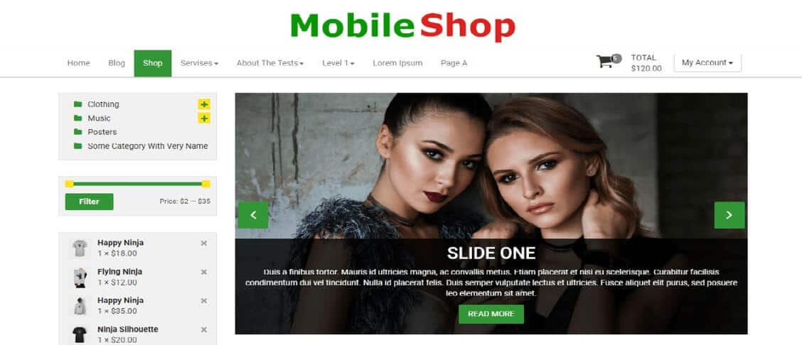 wordpress Mobile shop theme