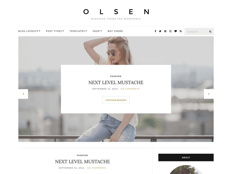 screenshot of Olsen Light wordpress theme