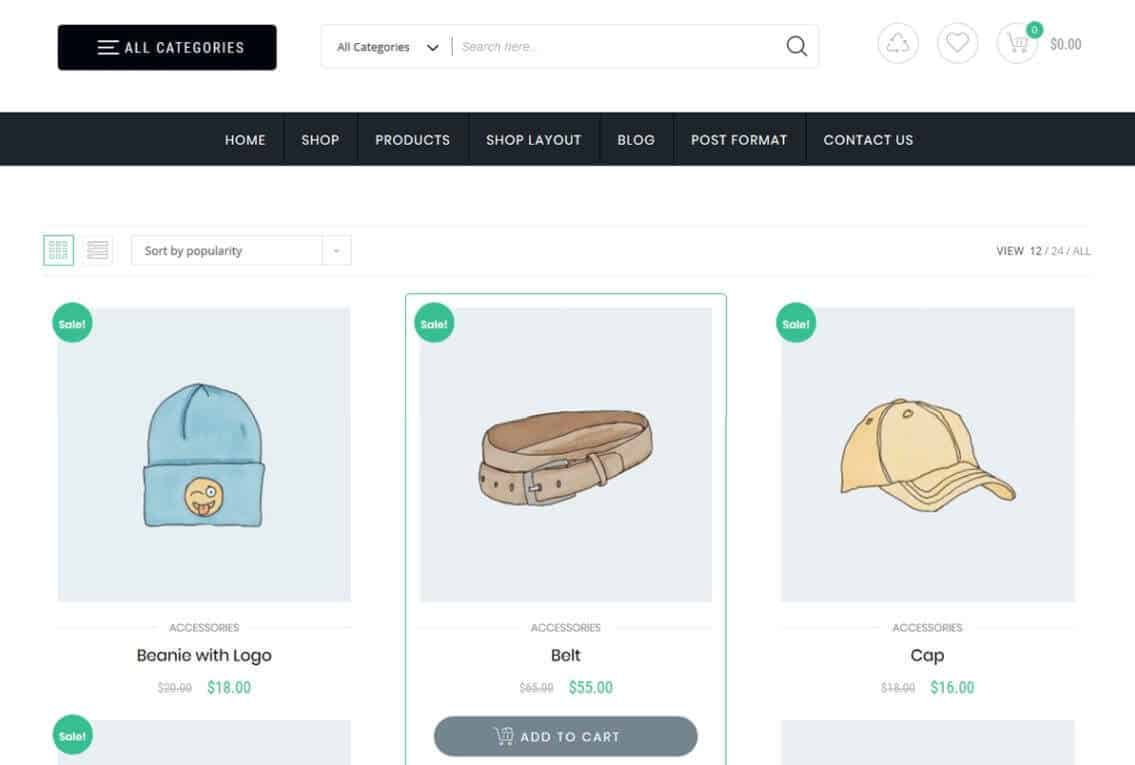store commerce is wordpress child theme