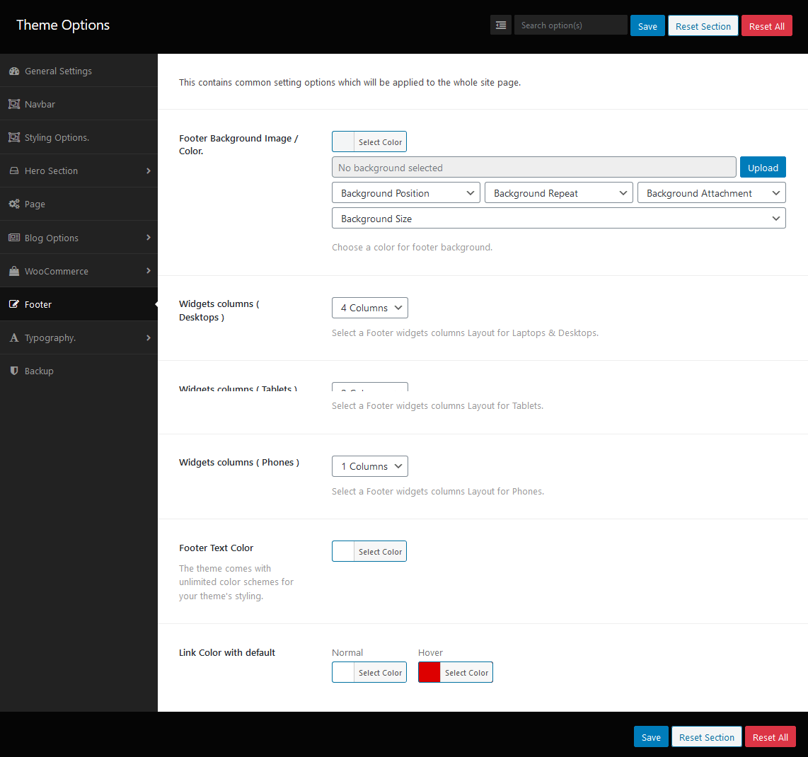 Dashboard of Footer Options