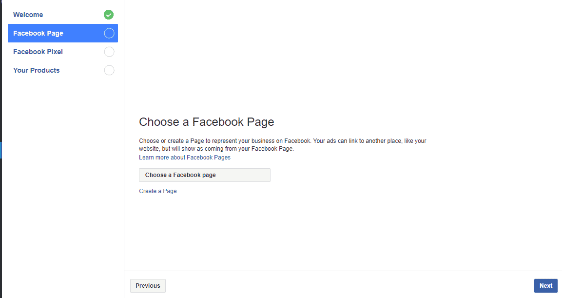 Click on the Choose a Facebook Page option