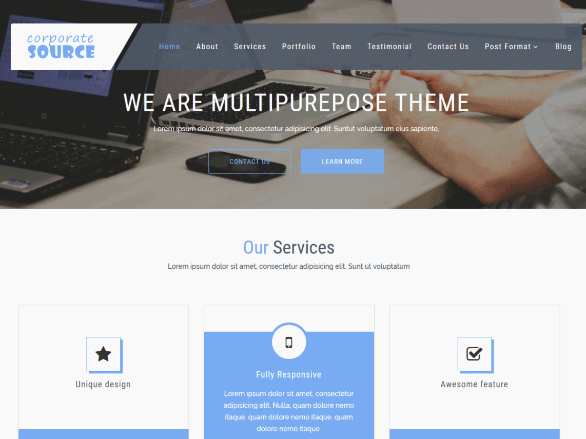 Screenshot of a picture of the theme Corporate Source
