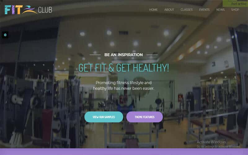 preview screenshot of Fitness Club - Health & Gym WordPress theme