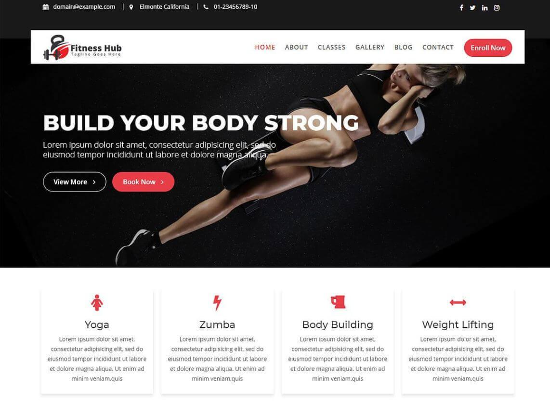 preview screenshot of Fitness Hub WordPress theme