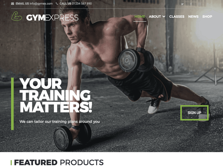 preview screenshot of Gym Express WordPress theme
