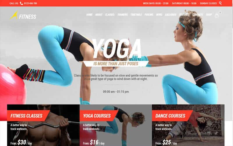 preview screenshot of Gym - Fitness WordPress theme