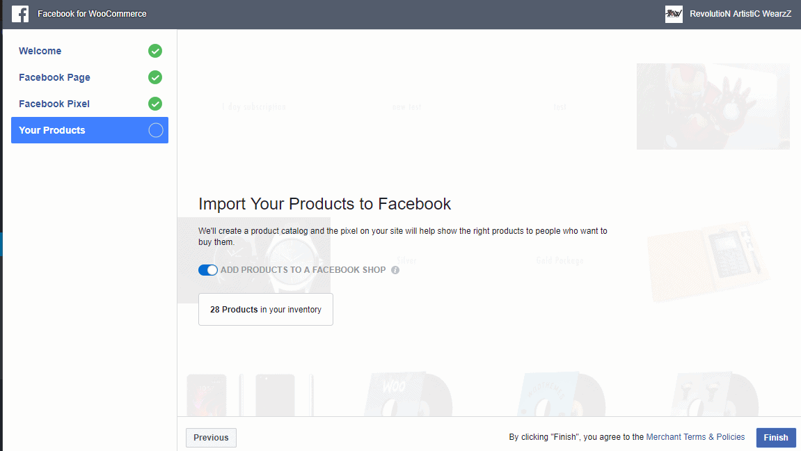 choose the option import product and click the Finish button