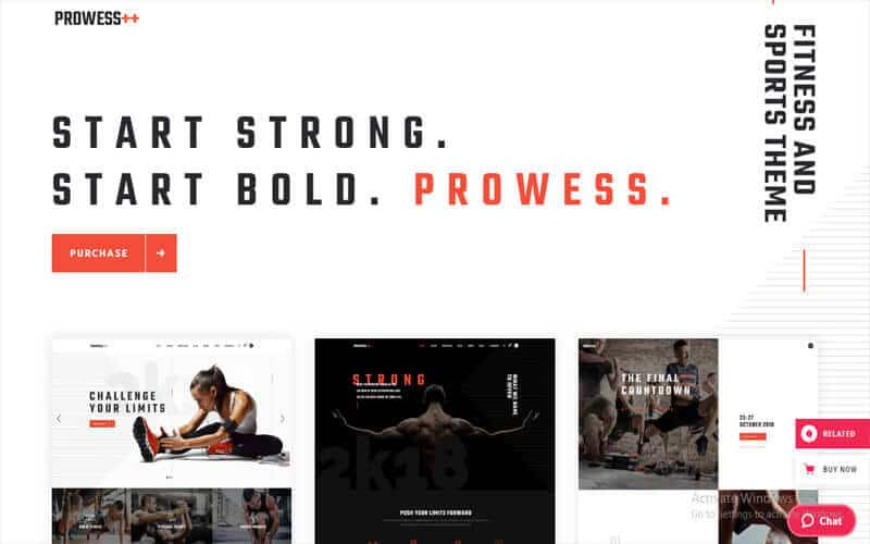 preview screenshot of Prowess - Fitness and Gym WordPress theme