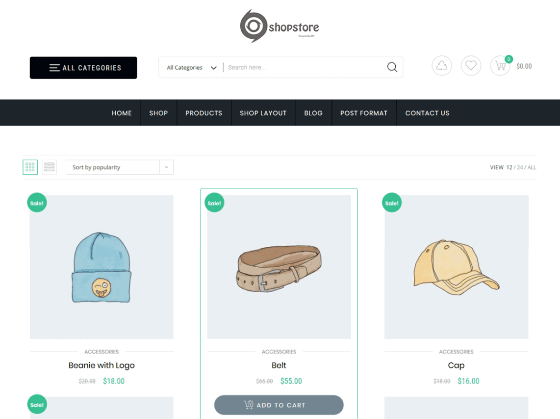 Screenshot of a picture of the theme Store Commerce