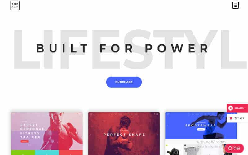 preview screenshot of TopFit - Fitness and Gym WordPress theme