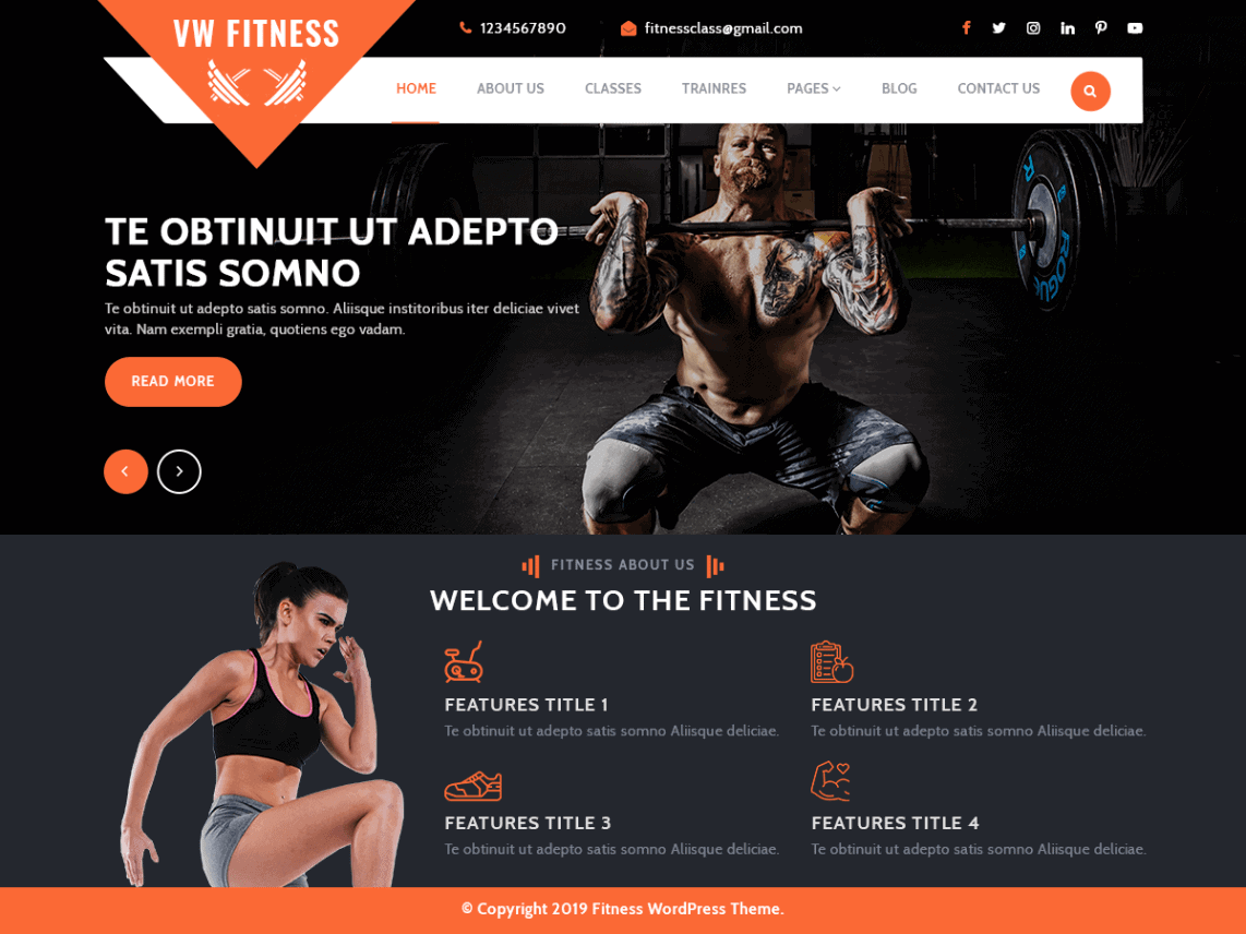 VW Fitness Gym theme preview