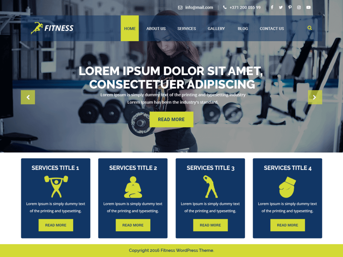 preview screenshot of VW Fitness WordPress theme