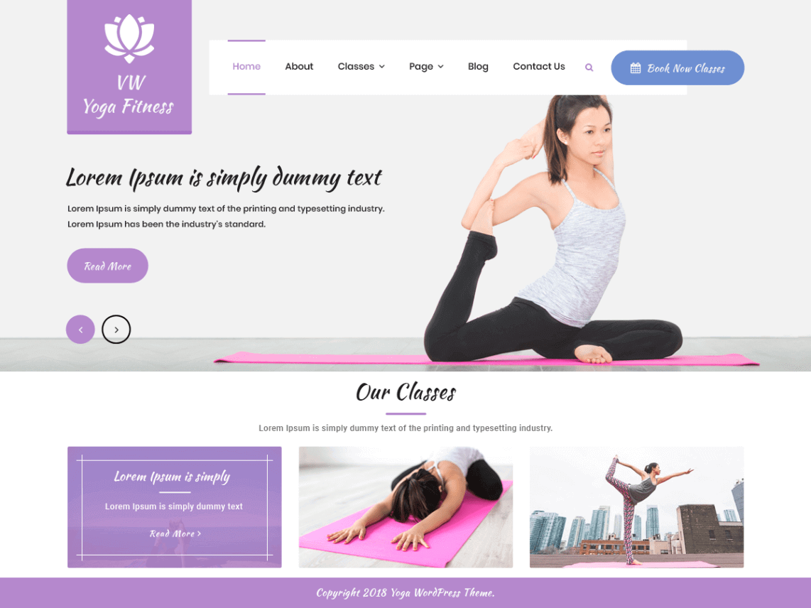 preview screenshot of VW Yoga Fitness WordPress themes