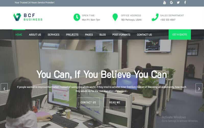Preview screenshots of BCF – Download Free Multipurpose WordPress Theme