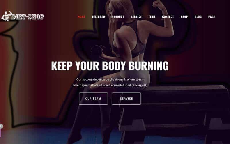 Preview screenshots of Diet-Shop Gym, Weight Loss & Health Supplement WordPress Theme