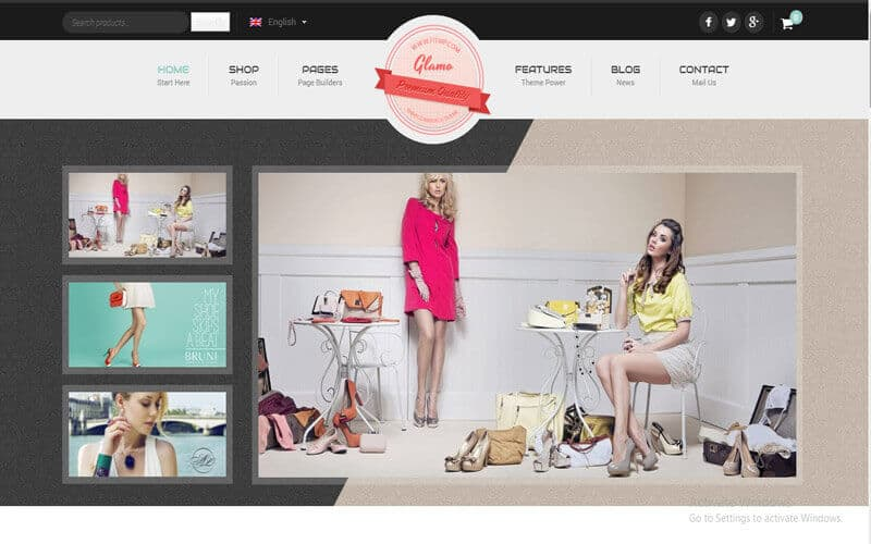 Preview screenshots of Glamo - Responsive WordPress Ecommerce Theme