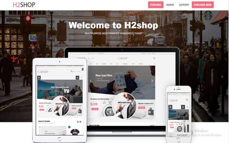 Preview screenshots of H2Shop - Responsive WooCommerce Shop WordPress Theme