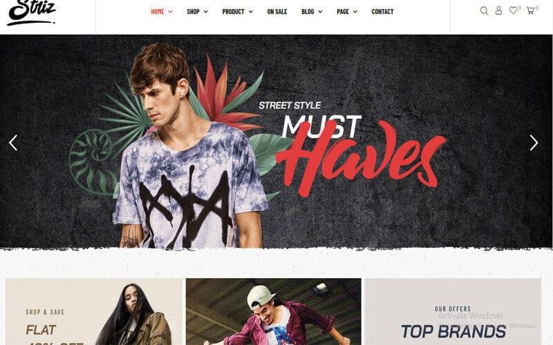 Preview screenshots of Striz - Fashion Ecommerce WordPress Theme