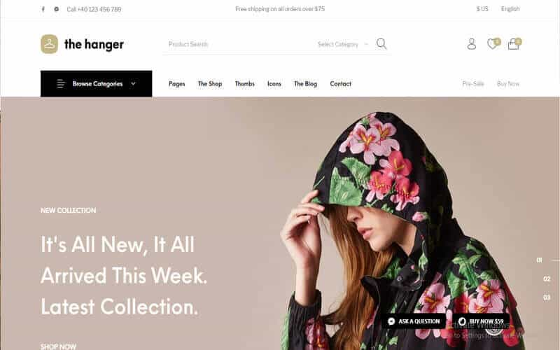 Preview screenshots of The Hanger - eCommerce WordPress Theme for WooCommerce