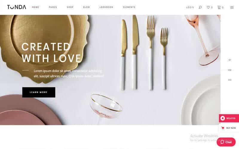 Preview screenshots of Tonda - Elegant Shop Theme