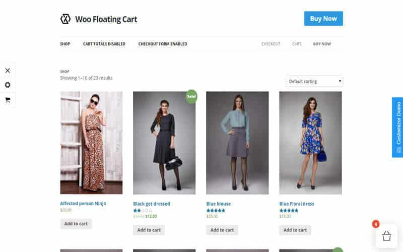 Preview screenshots of WooCommerce Floating Cart