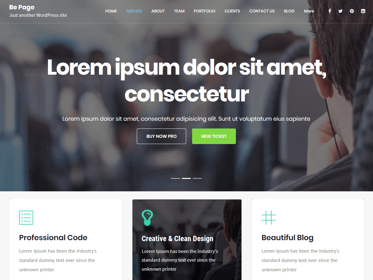 Preview screenshots of Be Page Multipurpose WordPress Theme