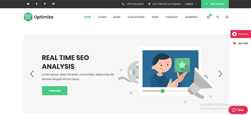 Preview screenshots of Optimize - SEO & Social Media Theme