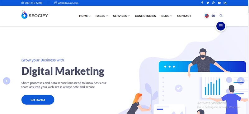 Preview screenshots of SEO Digital Marketing Agency WordPress Theme