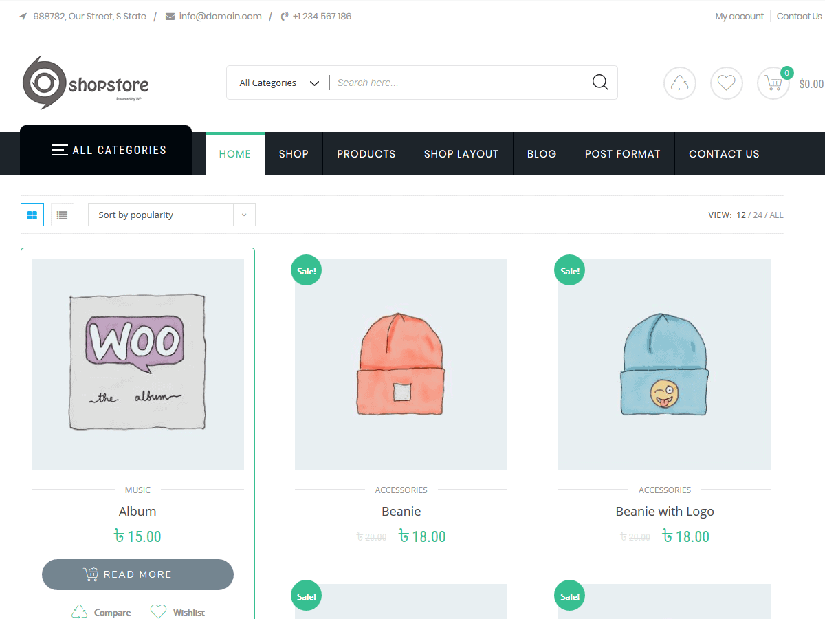 Preview screenshots of Shopstore – free eCommerce theme for WordPress