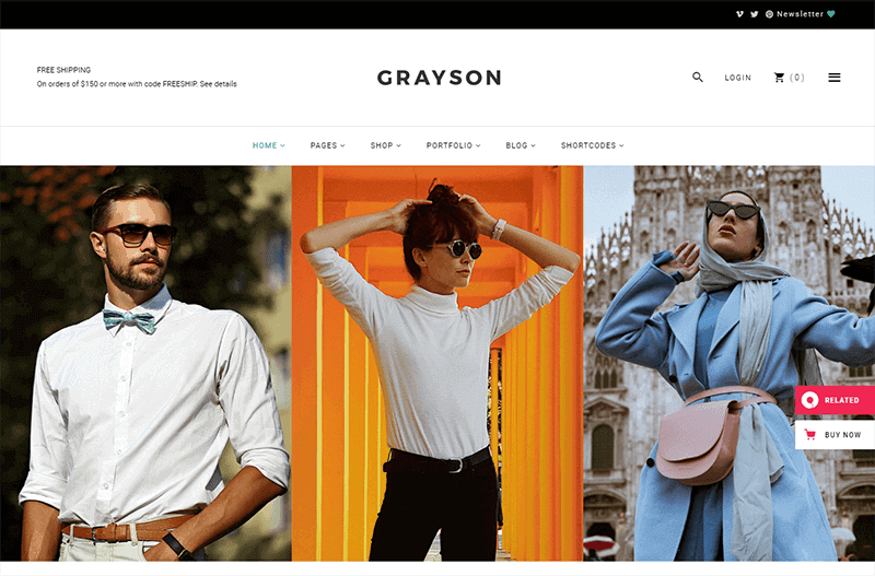 Preview screenshots of Grayson - Clothing Shop Theme