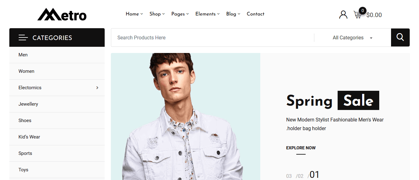 Preview screenshots of Metro – Minimal WooCommerce WordPress Theme