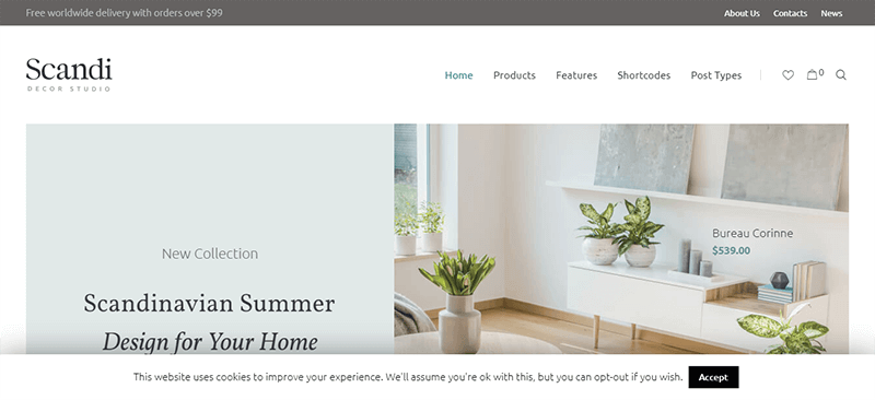 Preview screenshots of Scandi - Decor and Furniture Shop WooCommerce Theme