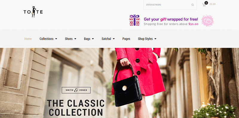 Preview screenshots of Tote - Fashion Shop Theme