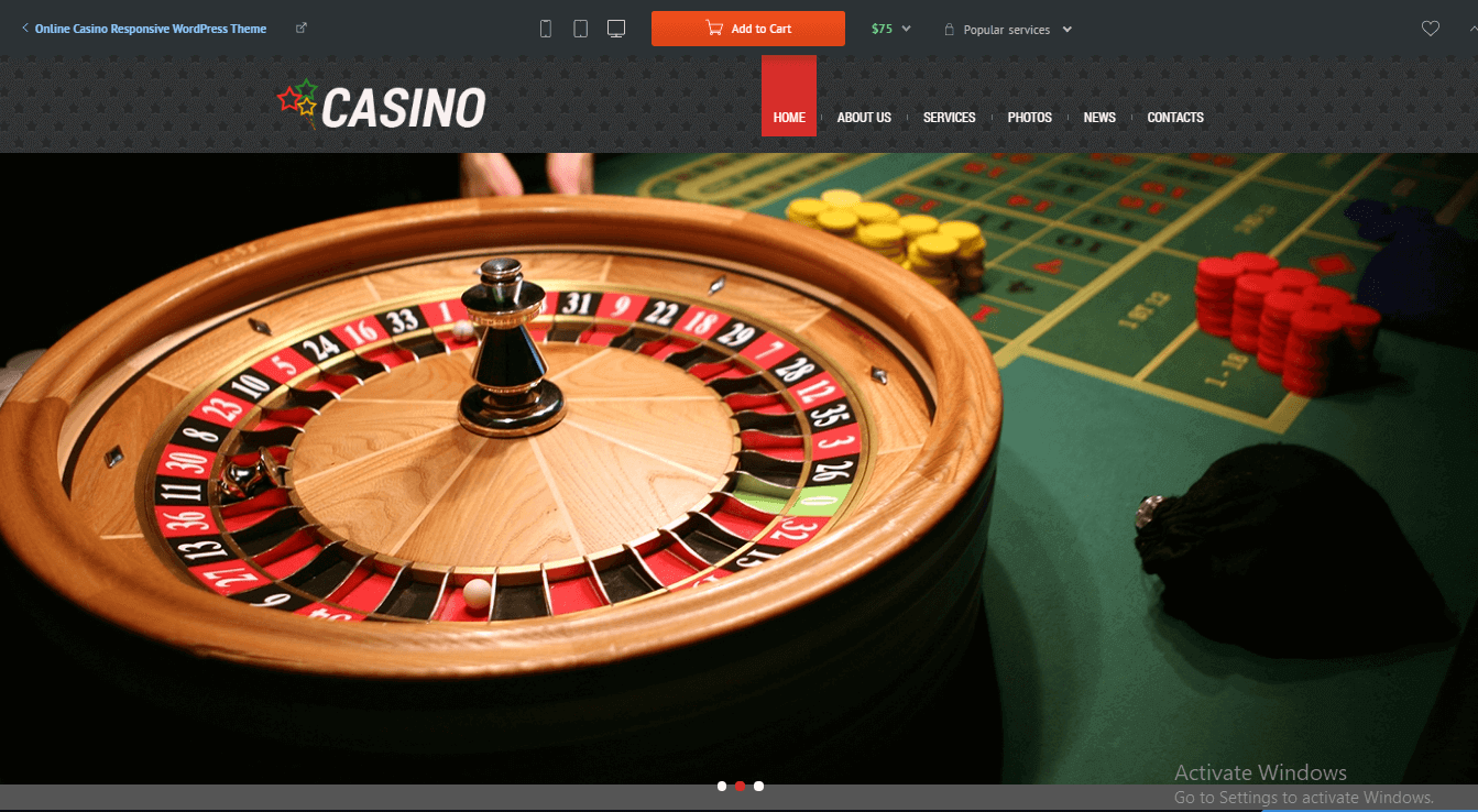 Preview screenshots of Online Casino Responsive WordPress Theme