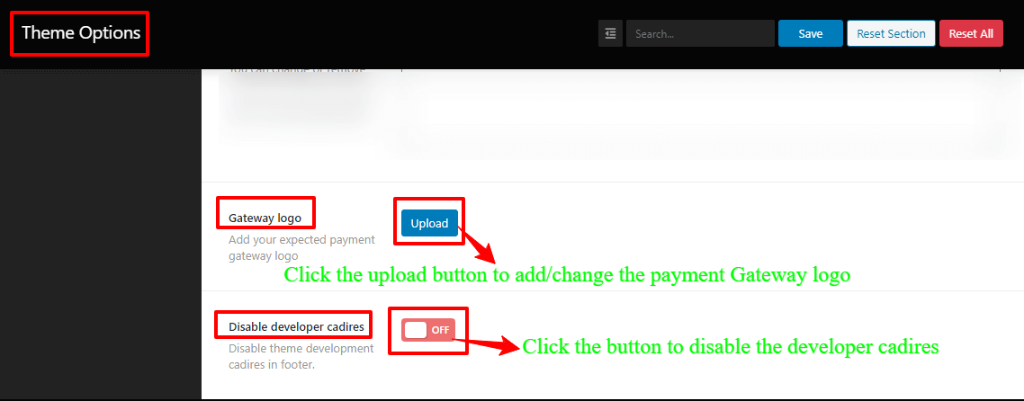 Screenshots of the add/change the payment Gateway logo, and disable the developer cadires