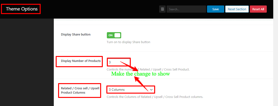 Screenshots of the Number of Products and Related/Cross-sell/Upsell Product Columns of WordPress WooCommerce theme