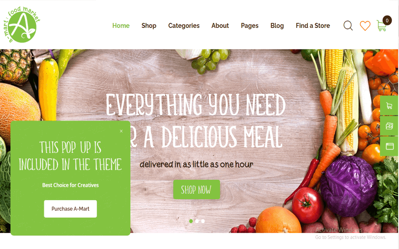 Screenshots for the theme called A-Mart Organic Products Shop WordPress Theme