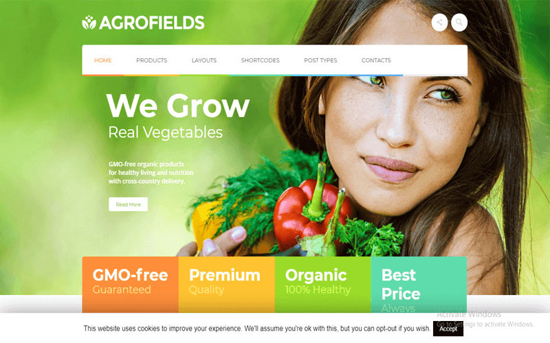 Screenshot for the theme maned Agrofields Food Shop & Grocery Market WP Theme