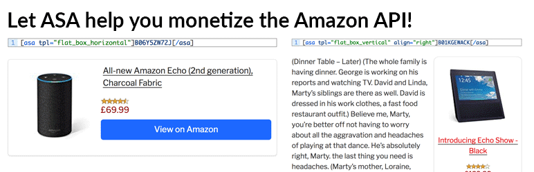Preview image of AmazonSimpleAdmin for the WordPress amazon affiliate plugin