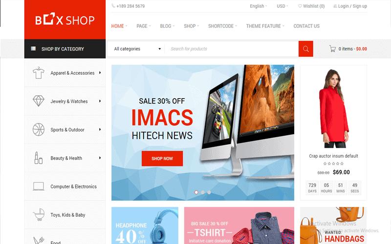 Screenshot for the theme of BoxShop Responsive WooCommerce WordPress Theme