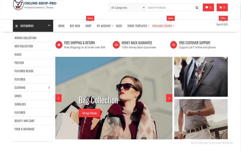Preview screenshot for the WordPress Shop theme named Online Shop Pro Multipurpose Premium WordPress ECommerce Theme