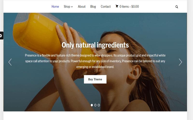 Screenshots for the WordPress Store theme of Presence