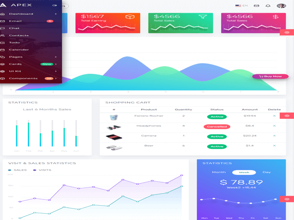Apex - React Admin Template with Bootstrap + Redux