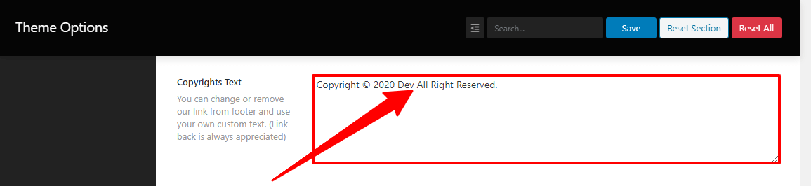Image of the footer Copyright text